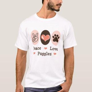 Camiseta T afligido Puggles do amor da paz