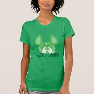 Camiseta T afortunado do buldogue francês do encanto