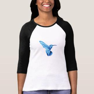 Camiseta T azul da longo-luva do colibri