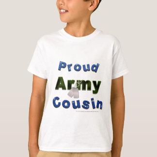 Camiseta T azul dos miúdos do primo orgulhoso do exército