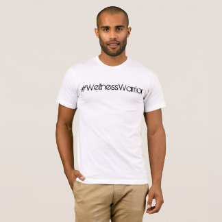 Camiseta T básico branco do #WellnessWarrior dos homens