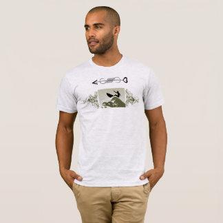Camiseta T bege da onda do surf da cinza legal para homens