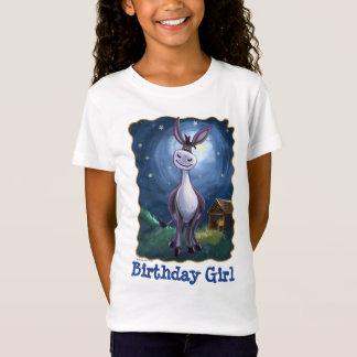 Camiseta T bonito da menina do aniversário do asno das