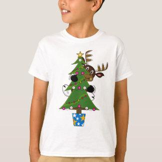 Camiseta T bonito do Natal da rena