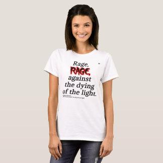 Camiseta T branco básico das citações de Dylan Thomas das