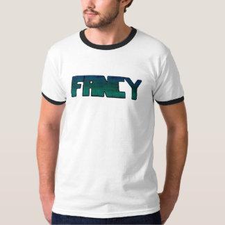 """Camiseta T branco com """"RICO"""" através da caixa"""