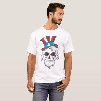 Camiseta T branco do esqueleto de sam dos homens