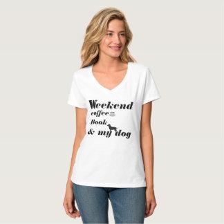 Camiseta T-CAMISA-Fim de semana, café, livro & meu cão