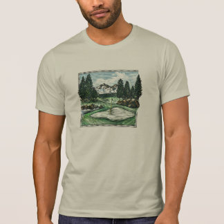 Camiseta T cénico clássico das caras do campo de golfe do