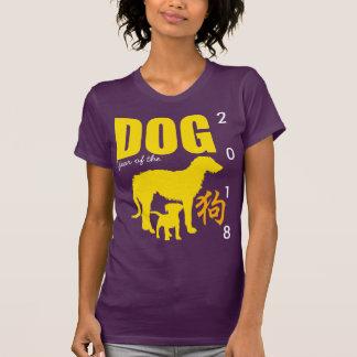 Camiseta T chinês de W do roxo do ano 2018 do cão amarelo