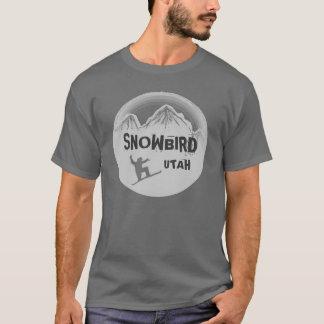 Camiseta T cinzento das caras do snowboarder de Utá do