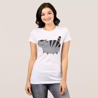 Camiseta T cinzento gordo lunático do gato de gato malhado