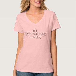 Camiseta T claro do V-pescoço das mulheres do logotipo de