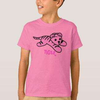 Camiseta T cor-de-rosa bonito do TIGRE