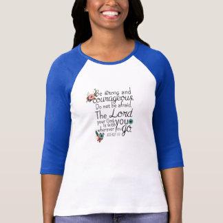 Camiseta T cristão do basebol das mulheres - 1:9 de Joshua
