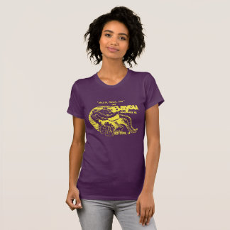 """Camiseta """"T da albufeira"""" das mulheres no roxo e no ouro"""