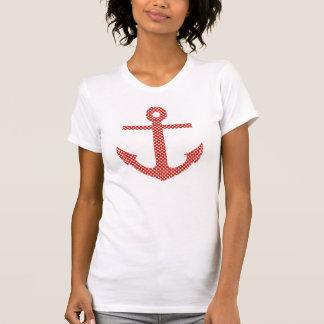 Camiseta T da âncora das bolinhas