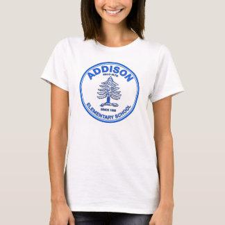 Camiseta T da boneca das mulheres, logotipo azul