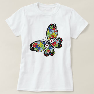 Camiseta T da borboleta da consciência do autismo