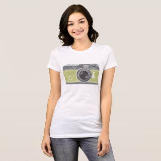 Camiseta T da câmera do verde limão