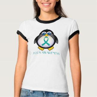 Camiseta T da campainha das mulheres do pinguim da fita