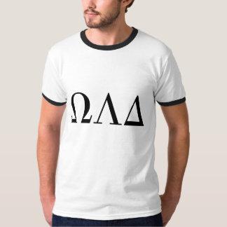 Camiseta T da campainha do delta de Omega Lambda dos homens