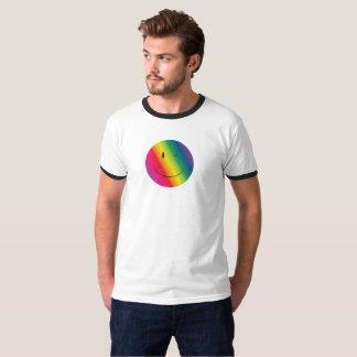 Camiseta T da cara do piscar os olhos do arco-íris