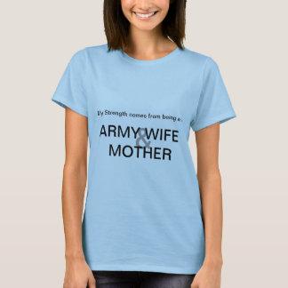 Camiseta T da esposa & da mãe do exército