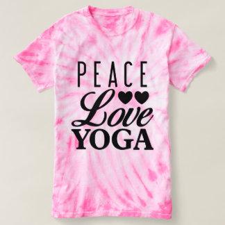 Camiseta T da Laço-tintura da ioga do amor da paz