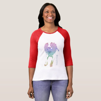 Camiseta T da Longo-luva das mulheres coloridas do Spaniel