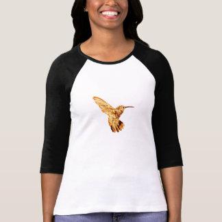 Camiseta T da longo-luva das mulheres do colibri do ouro