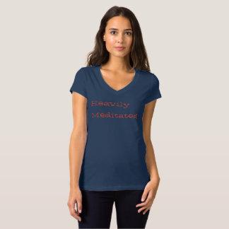 Camiseta T da luva do boné das mulheres pesadamente