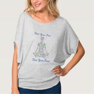 Camiseta T da mistura da ioga de Flowy da paz do achado da