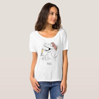 Camiseta T da noiva da coroa da flor do dinossauro