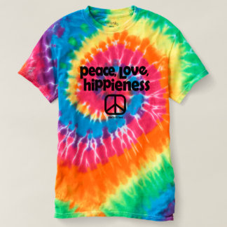 Camiseta T da tintura do laço de Hippieness do amor da paz