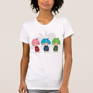 Camiseta T das objectivas triplas de Kokeshi