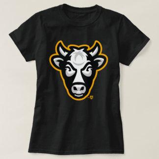 Camiseta T das senhoras da vaca de Wisconsin (preto)