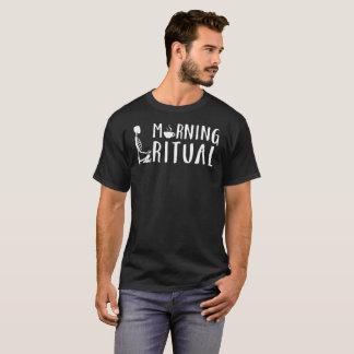 Camiseta T de esqueleto ritual do presente do café da manhã