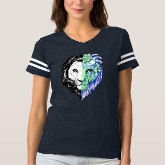 Camiseta T de futebol místico mão original das mulheres