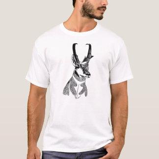 Camiseta T de madeira do antílope do crachá