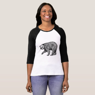 Camiseta T de passeio do Raglan do urso