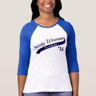Camiseta T desagradável do basebol da mulher
