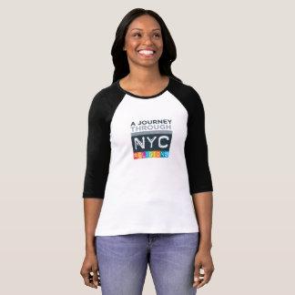 Camiseta T do algodão do Raglan do logotipo da viagem das