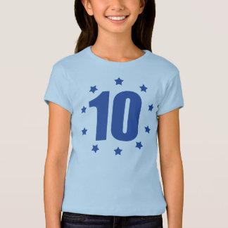 Camiseta T do ANIVERSÁRIO de DEZ estrelas 10o