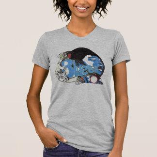 Camiseta T do azul da senhora