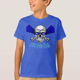 Camiseta T do azul da vida da natação