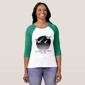Camiseta T do basebol das mulheres da praia da família de