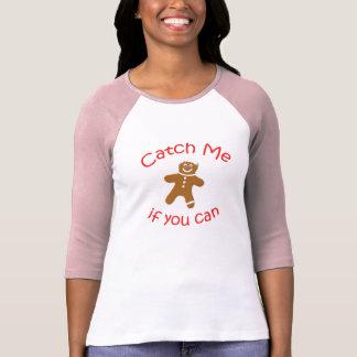 Camiseta T do basebol das mulheres - trave-me se você pode