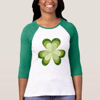 Camiseta T do basebol do Applique do trevo