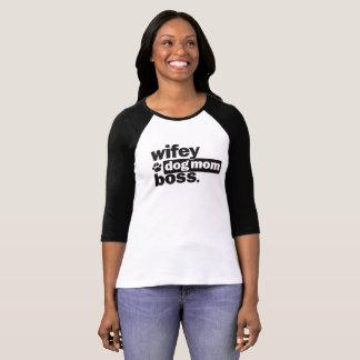 Camiseta T do basebol do chefe da mamã do cão de Wifey